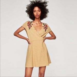 ZARA floral embroidered surplice dress